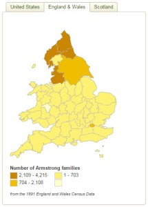 Armstrong 1891 surname distribution