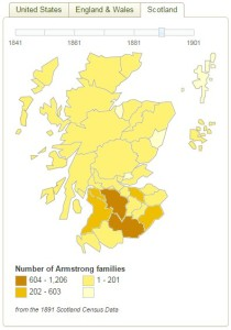 Armstrong surname 1891 distribution