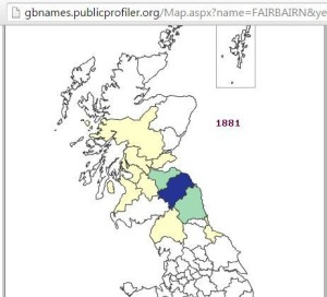 Fairbairn surname distribution 1881
