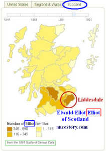 Elliot 1891 surname distribution