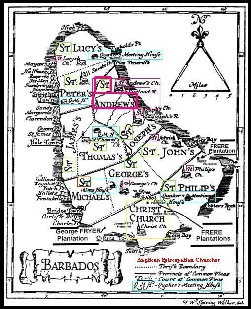 Quaker Scots Barbados map