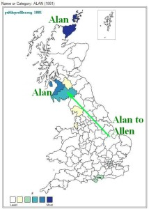 Alan surname distribution map 1881