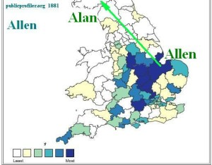 Allen surname distribution map 1881