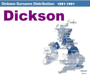 Dickson surname distribution