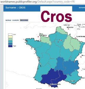 Cros French surname distribution