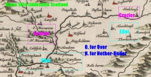 Crozier and Elliot in Upper Liddesdale Blaeu 1654 map