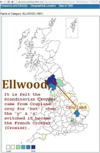 Ellwood GB surname distribution