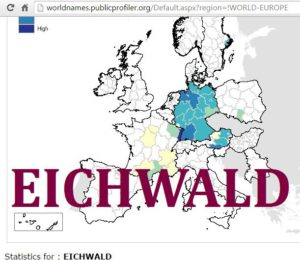 Elwald worldnames distribution