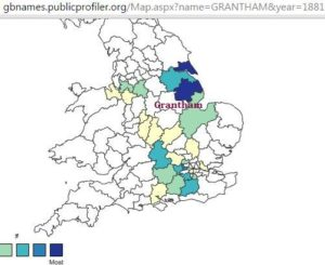 Grantham location and surname distribution