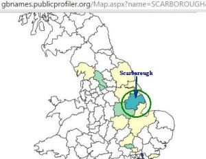 Scarborough surname distribution