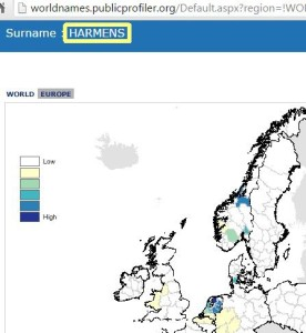 surname distribution Harmens
