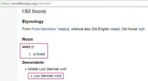 Old Saxon WALD etomology