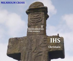Armstrong shield on Milnholme IHS burial cross.