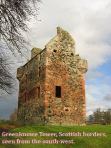 Greenknowe Tower, Scottish borders, seen from the south-west.